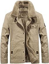 Lavnis Men's Military Trucker Jacket Casual Cotton Button Down Fleece Denim Jacket