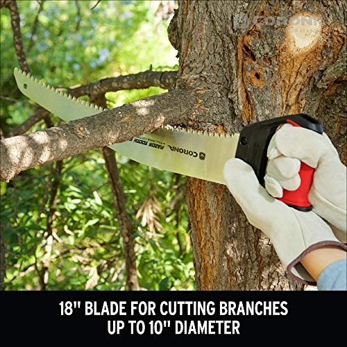 Corona RS 7510D RazorTOOTH Heavy Duty Pruning Curved Blade Trimming Saw for Hand Cutting Tree Limbs and Branches, 18 Inch
