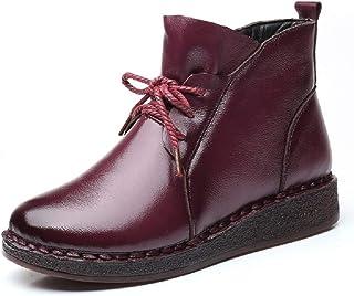 LingGT Fur Lined Boots Women Leather Flat Casual Zipper Shoes (Color : Purple, Size : AU 3.5)