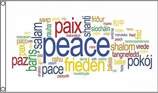 AZ FLAG Peace Words Flag 3` x 5` - Paix Pace Paz Frieden Flags 90 x 150 cm - Banner 3x5 ft
