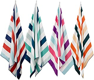 Exclusivo Mezcla Large Microfiber Beach Towel, Sand Free Striped Sports/Swimming/Pool Towel for Kids and Adults(4 Pack, 30...