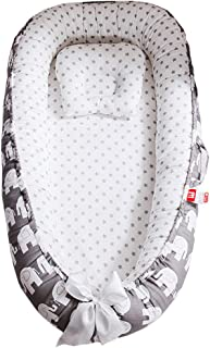 Abreeze Baby Bassinet for Bed,Elephant-Grey Baby Lounger Crib Bedding, Breathable & Hypoallergenic Co-Sleeping Baby Bed, 100% Cotton Portable Crib Pillow for Bedroom/Travel/Camping