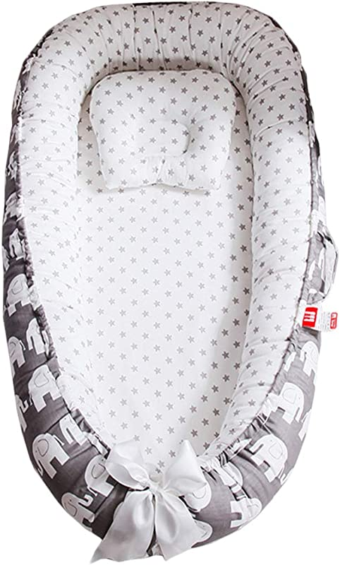 Abreeze Baby Bassinet For Bed Elephant Grey Baby Lounger Crib Bedding Breathable Hypoallergenic Co Sleeping Baby Bed 100 Cotton Portable Crib Pillow For Bedroom Travel Camping