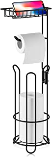 XEEX Free Standing Toilet Paper Holder with Shelf Bathroom Toilets Tissue roll Stand Milky White Black Dispenser toulet 3 Spare Rolls Storage (Matte Black)