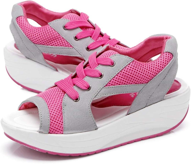JOYBI Women's Platform Wedge Sandals Peep Toe Lace Up Breathable Air Mesh Upper Soft Cushion Athletic Sneakers Flip Flops