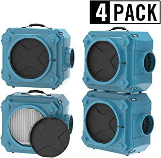 AlorAir 4 Pack CleanShield HEPA 550 Commercial Industrial Air Scrubber, HEPA Filter System, Negative Air Machine Air Cleaner, HEPA air Cleaner, Blue