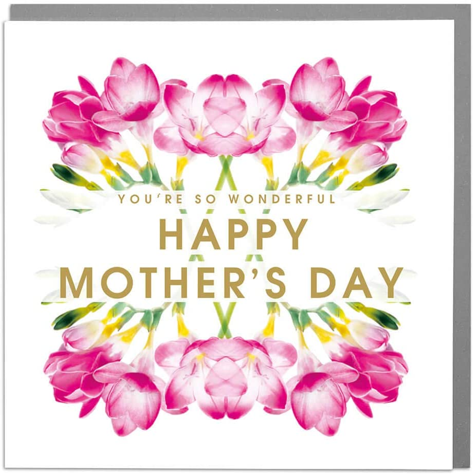 Perfect to go with Mothers Day Gifts Freesia Floral Mothers Day Card with Grey Envelope by Lola Design