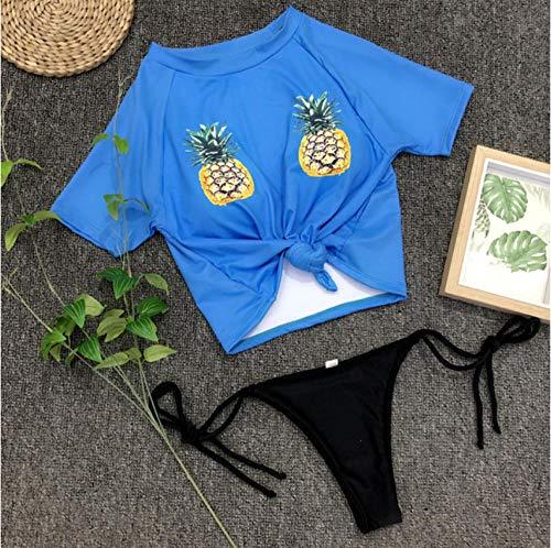 Empty Bikini Ananas Print Bademode Frauen Kurzarm Ärmel mit niedriger Taille Bandage Badeanzug Weiblich Biquini-S