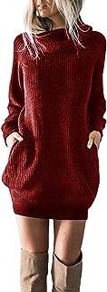 SHOBDW mujer de Punto Vestido de Cuello de Rollo de Vestido de Puente Damas Mini tamaño