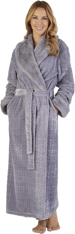 Slenderella HC2343 Women's Faux Collar Loungewear Dressing Gown