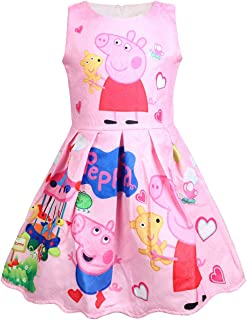 Girl`s Princess Little Pig Dress Pink Party Sleeveless Dresses 2-3Y