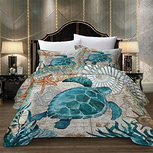 DSUTTM 3D Printed Duvet Cover King Size Sea animal turtle 3 pcs Bedding Set with Zipper Closure + 2 Pillowcases 50x75cm Ultra Soft Hypoallergenic Microfiber Quilt Cover For Kids Adults