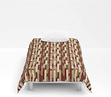 "Society6 Comforters - Twin: 68"" x 88"" - Modern Tabs in Brown, Burgundy and Tan by Mel Fischer"