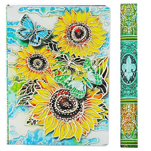 YHH Cuaderno A5 Rayas Tapa Dura, en Relieve, Hecho a mano, 200 Páginas, Libretas Bonitas, Diario de Viaje Cuero, Vintage Journal Notebook, Regalo Aniversario Mujer Hombre Pareja, 3D Girasol Colores