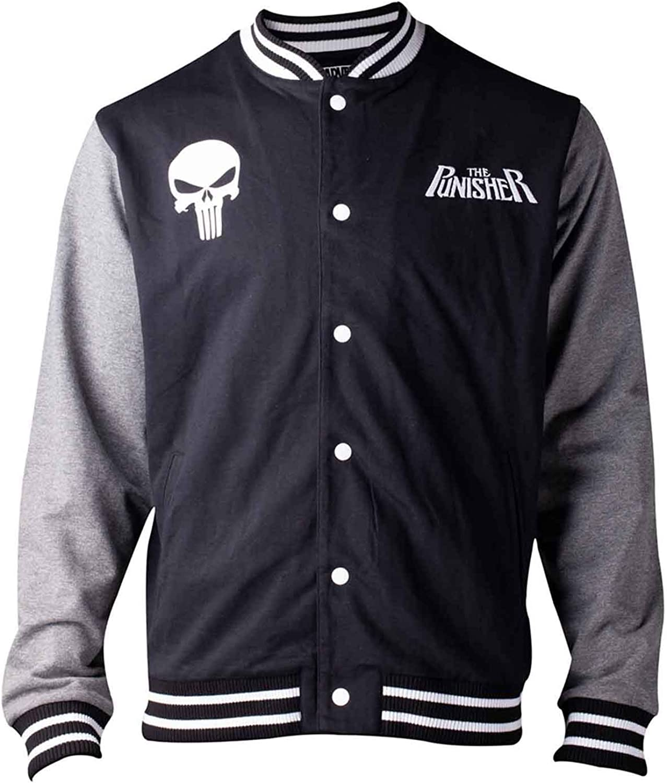 Punisher Baseball Jacket Skull Logo Official Marvel Comics Mens Varsity Size L