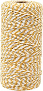 Just Artifacts ECO Bakers Twine 110-Yards 12Ply Striped Mustard Yellow - Decorative Bakers Twine for DIY Crafts and Gift Wrapping