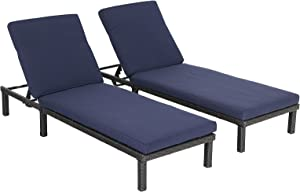 MFSTUDIO Patio Chaise Lounge Chair Set of 2,PE Wicker Rattan Adjustable Pool Lounge Chair Furniture with Removable Cushions for Garden,Beach,Poolside(Navy Blue)