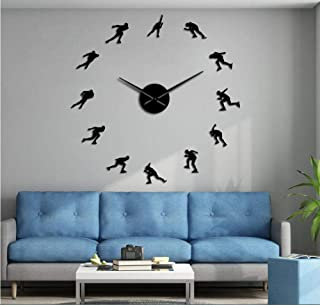 Fangmingleiwinter Sports Ice Speed Skating Big Wall Clock Acrylic Speed Skater Sports Art Room Decoration Speed Roller Diy...