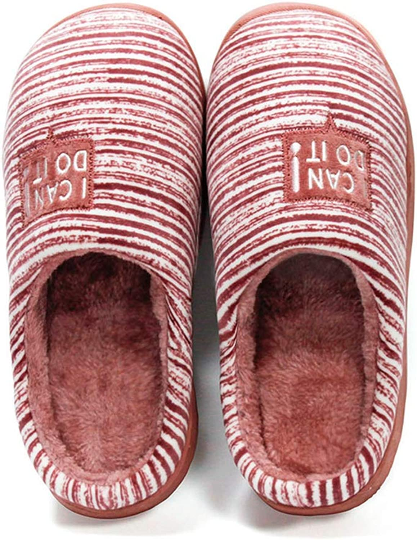 ASO-SLING Women's Warm Cotton Slippers Coral Fleece Flats Non-Slip House Slipper Comfort Memory Foam Indoor Slides