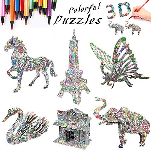 Fun Art Creative DIY Project Kit 3d Puzzles Gift Set with 6 Animals 3D Coloring Puzzle Set for Kids Arts and Crafts for Girls and Boys Ages 7 8 9 10 11 12 6 Pack with Pen Markers