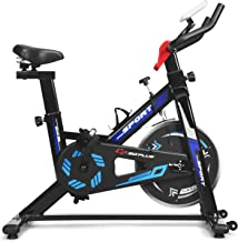 GYMAX Indoor Cycling Bike, Adjustable Exercise Bike with LCD Display, Comfortable Seat Cushion & 5-Position Adjustable Saddle, Professional Exercise Bike for Home Office Gym