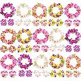 Blulu 18 Conjuntos de Diadema Pulsera de Flores Hawaiana Luau Colorida Favores de Fiesta Temática Guirnalda de Flores de Seda Tropical Decoración de Fiesta Boda Cumpleaños de Playa