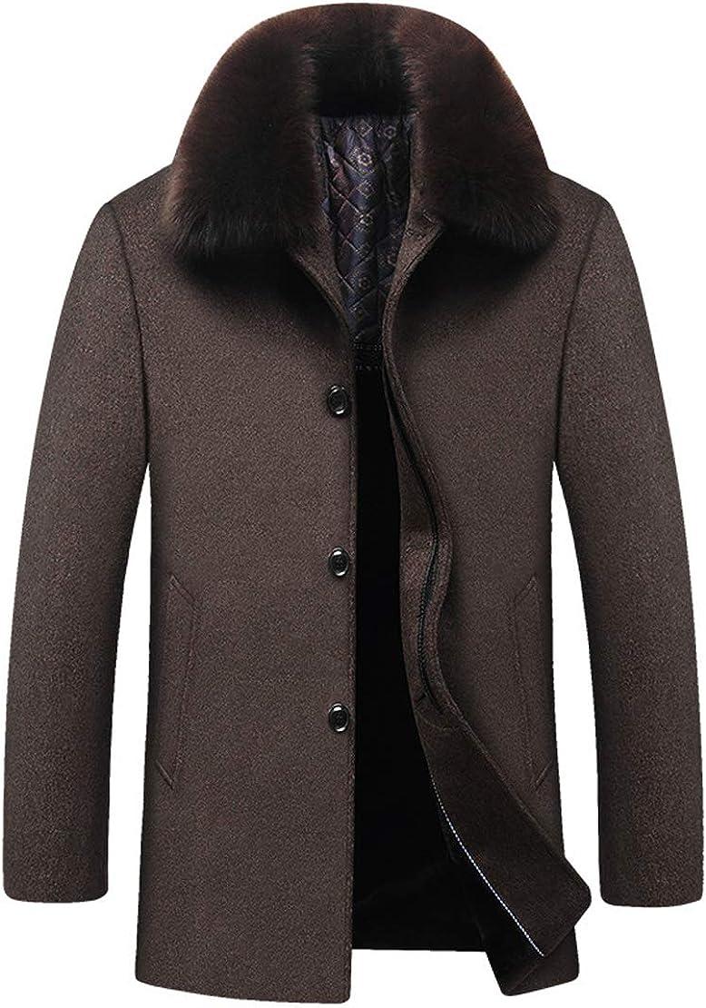 utcoco Mens Loose Fit Faux-Fur Collar Single-Breasted Thicken Fleece Warm Coat Outwear
