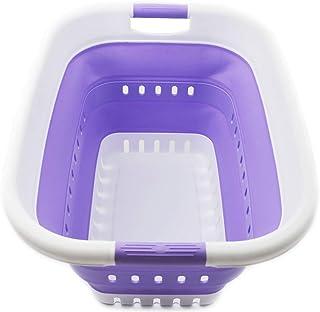 SAMMART Panier à linge pliable en plastique 37 l – Panier à linge pliable – Boîte de rangement pliable – Panier à linge po...