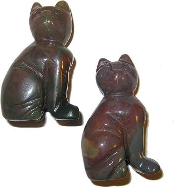"Animal Cat Bloodstone 50 Pair of Red Green Crystal Kitties Soul Mate Guardian Figurine Stone Adorable Set 2.3"""