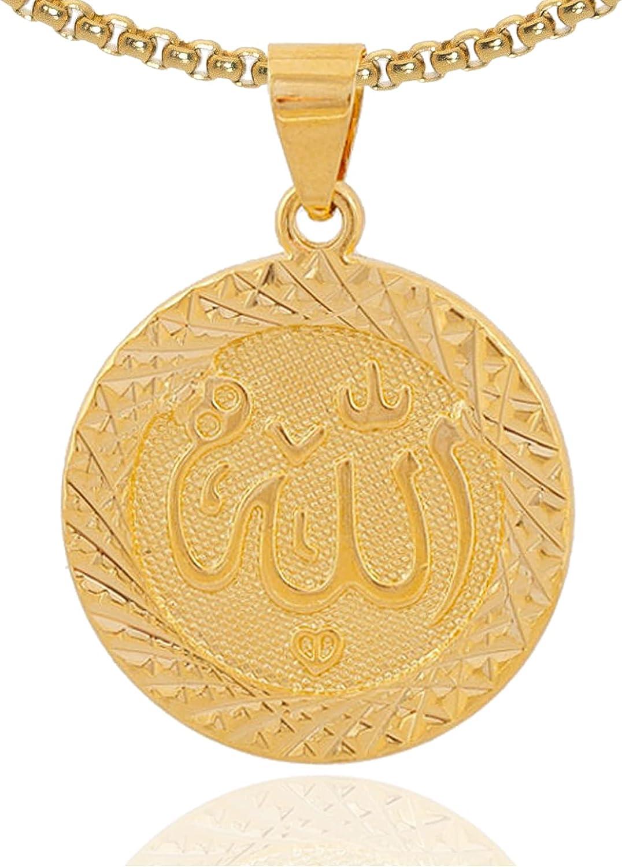 Fusamk Fashion Plated 18K Gold Allah Pendant Round Necklace,22