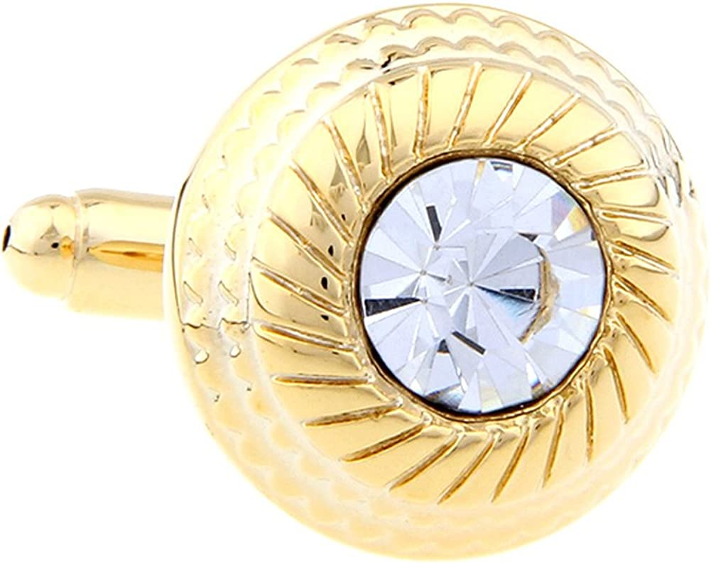 Men's Executive Cufflinks Bling Collection Gold Tone Cut Crystal Etched Framed Rounc Cuff Links