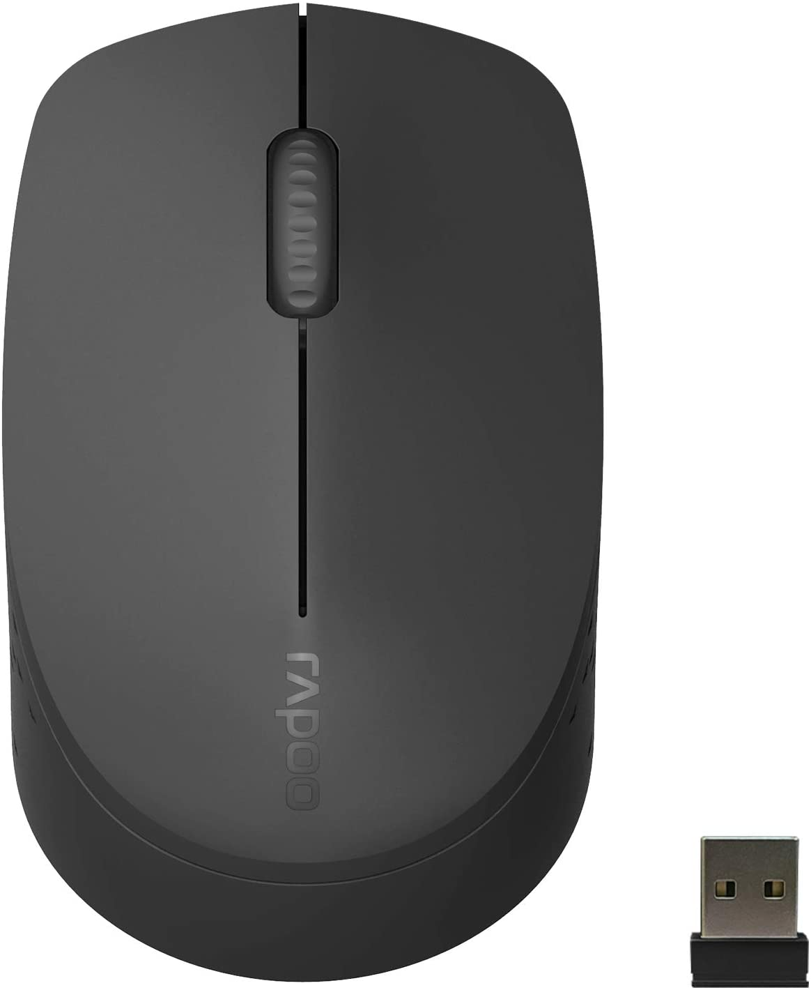 RAPOO Multi-Device Bluetooth Mouse, Connect Up to 3 Different Devices, Noiseless Ergonomic Design Comfortable Use, 9 Month Long Battery Life, for Computer Laptop MacBook Tablets Phones, Black