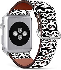 Patterned Leather Wristband Strap Compatible with Apple Watch Series 5/4 / 3/2 / 1, 42mm / 44mm Bands Replacement (Cute Panda Bear Wallpaper)