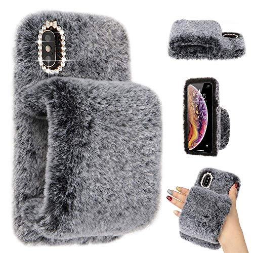 LLZ.COQUE for iPhone 7 iPhone 8 iPhone SE 2020 Case Cute Girls Soft Faux Fur Glitter Diamond Furry Fluffy Glove Silicone Phone Cover Case for iPhone 7 iPhone 8 iPhone SE 2020 Case Grey