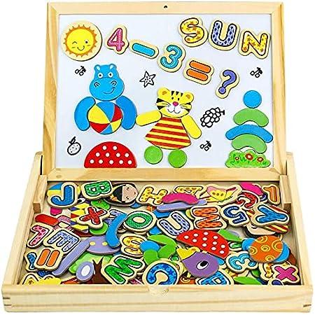 Pizarra Magnética Infantil Juguetes de Madera Letras Magneticas Niños Rompecabezas Juguetes Educativos Puzzles de Madera Magnético Tablero de Dibujo Juguetes niños 2 3 4 5 Años—Número y Letra
