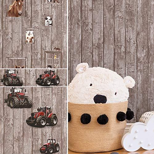 #patterned.wallpaper PVC-Freie Kinderzimmer Tapete 3D Vliestapete + passende Bordüre Traktor Bauernhof Tiere Holz Spielzimmer