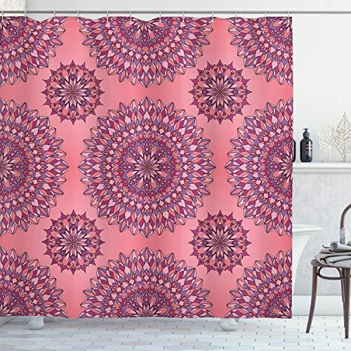ABAKUHAUS Purple Mandala Douchegordijn, Boheems, stoffen badkamerdecoratieset met haakjes, 175 x 200 cm, Coral Fuchsia
