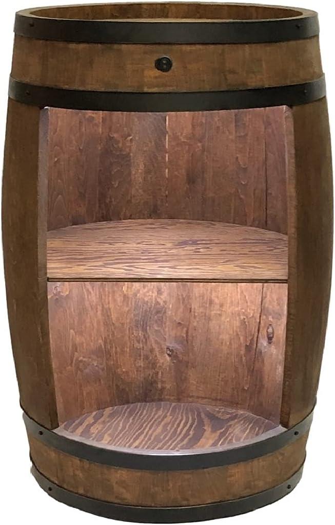 weeco Bar - Armario con iluminación LED Botellero de estilo retro. Altura: 81 cm. Barril de madera maciza.