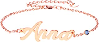 YINSHIFU Personalized Name Bracelet, Name Plate Link Bracelet Anklet Custom Made Jewelry in Any Name Gift for Women Girls