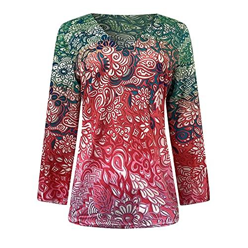 Lencería Sexy Mujer Mujeres Camisetas De Manga Larga Blusa Vintage Túnicas Casuales Estampado Loose Fit Top Floral Moda De Verano Mujer Multicolor.L Rosa Fuerte