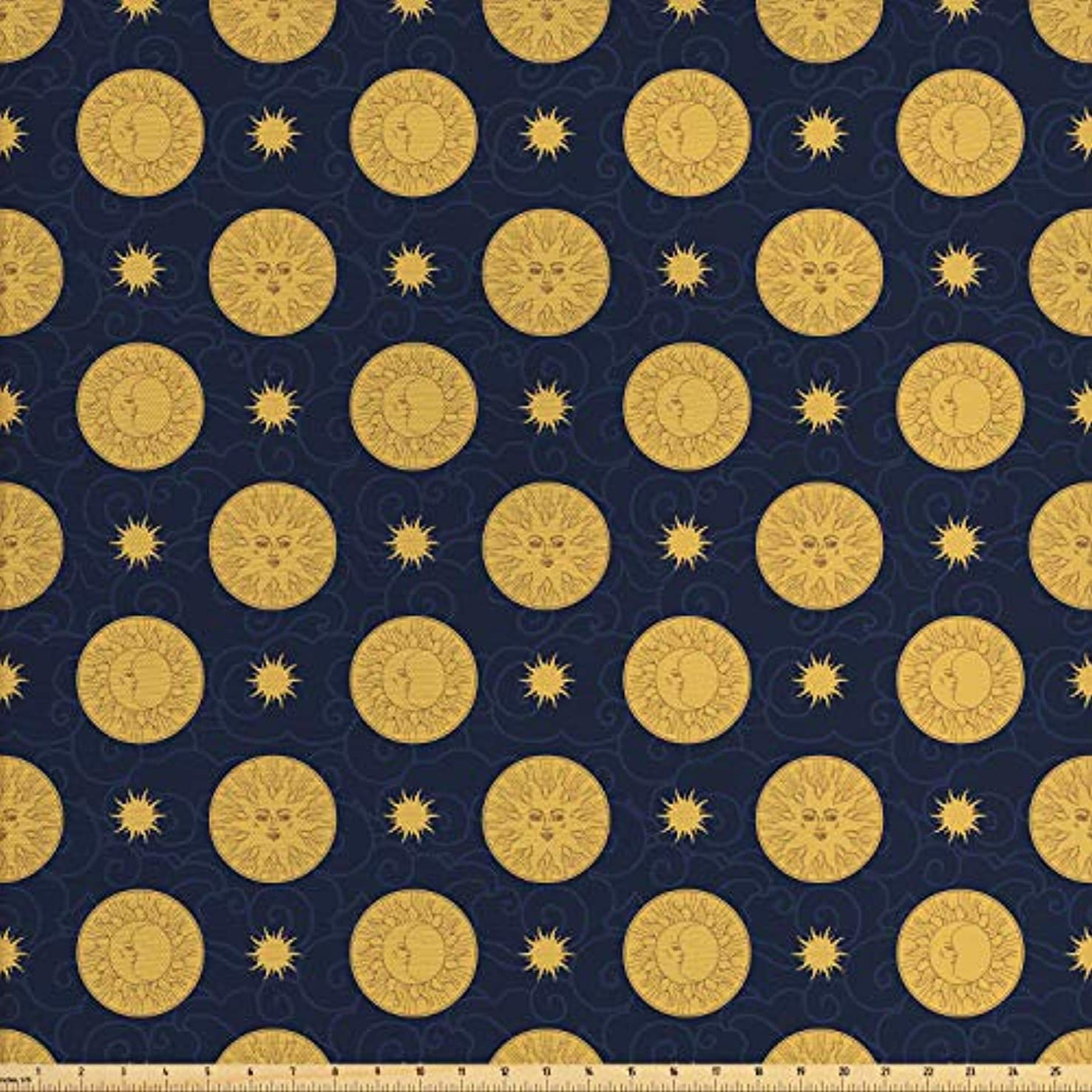 Lunarable Sun and Moon Fabric by The Yard, Vintage Tribal Style Celestial Bodies with Swirled Lines Background, Decorative Fabric for Upholstery and Home Accents, 1 Yard, Navy Blue Sand Brown