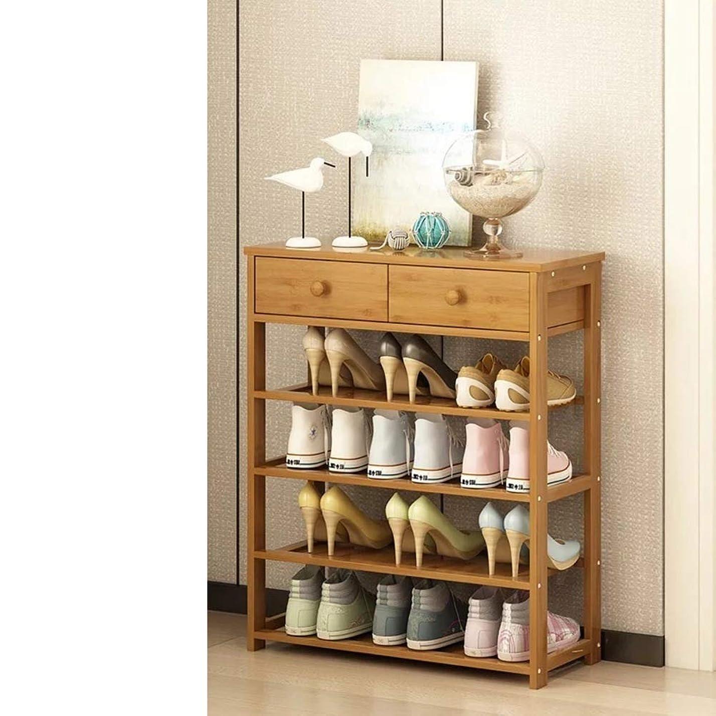 降下拡散する成熟な 靴箱 引き出し付き,多機能世帯 靴のキャビネット 固体木製組立 靴オーガナイザー 靴だな-g 70x25x75cm(28x10x30inch)