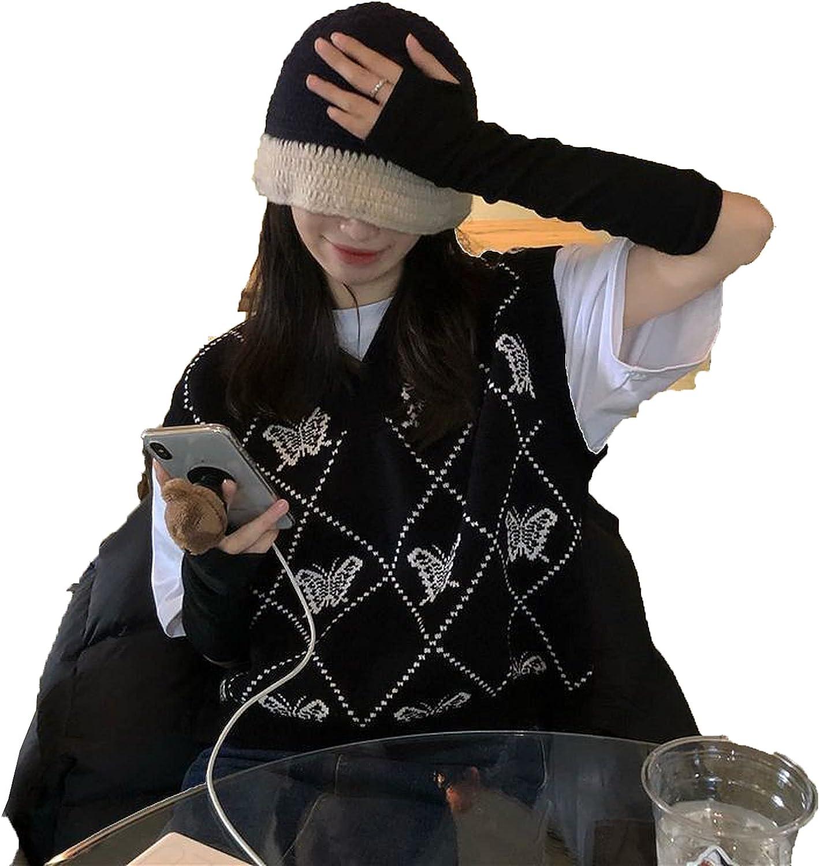 Sweater Vest Women Korean Style Vintage Butterfly V Neck Sleeveless Pullover Knitted Tank Tops