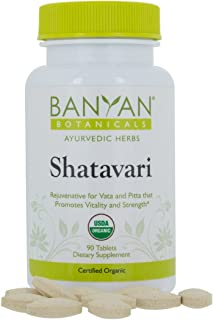 Banyan Botanicals Shatavari Tablets - USDA Organic - 90 ct - Asparagus Racemosus - Rejuvenative for Vata and Pitta That Promotes Vitality and Strength