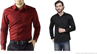 ZAKOD Combo of Plain and Polka Print Cotton Shirts for Men's Wear,Casual Wear Shirts,Available Sizes M=38,L=40,XL=42,100% Pure Cotton Shirts(Pack of 2)