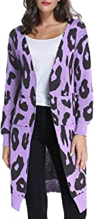 Womens Long Sleeve Leopard Print Long Cardigan Sweater Knitted Open Front Outwears