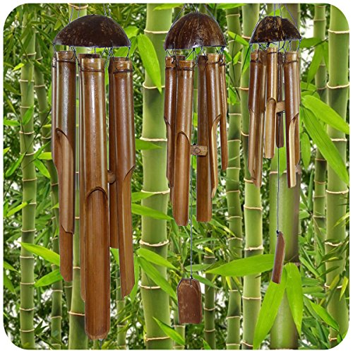 Simandra Windspiel Klangspiel Bambus Deko Mobile Klangröhren Klang-Spiel Entspannung Garten Türglocke Feng Shui 3 Set