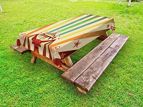ABAKUHAUS Arco Iris de la Vendimia Funda Nórdica, Feria de Edad Circo, Estampado Tela de Poliéster Práctico Durable, 145 cm x 305 cm, Multicolor