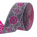 PandaHall Cinta Jacquard de 1.2 pulgadas de 7 yardas de 1.2 pulgadas de cinta tejida étnica emmobridered de tela de borde para bricolaje accesorios de ropa adornos decoraciones