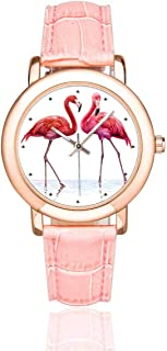 InterestPrint Women's Pink Leather Strap Watches Cartoon Sloth Waterproof Wrist Watch